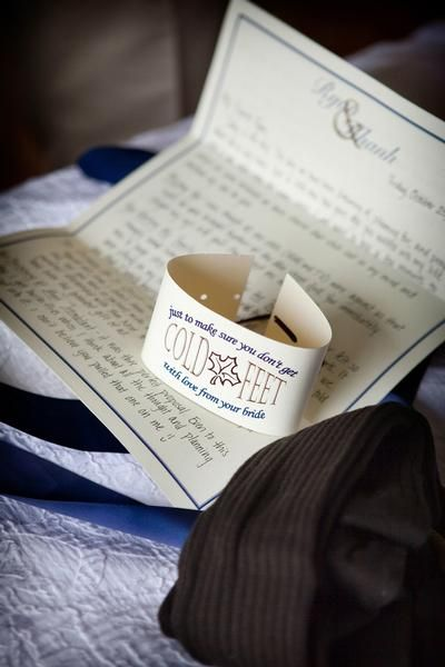 A Bride Left Her Groom Note On Their Wedding Day With Socks In Case He Got Cold Feet