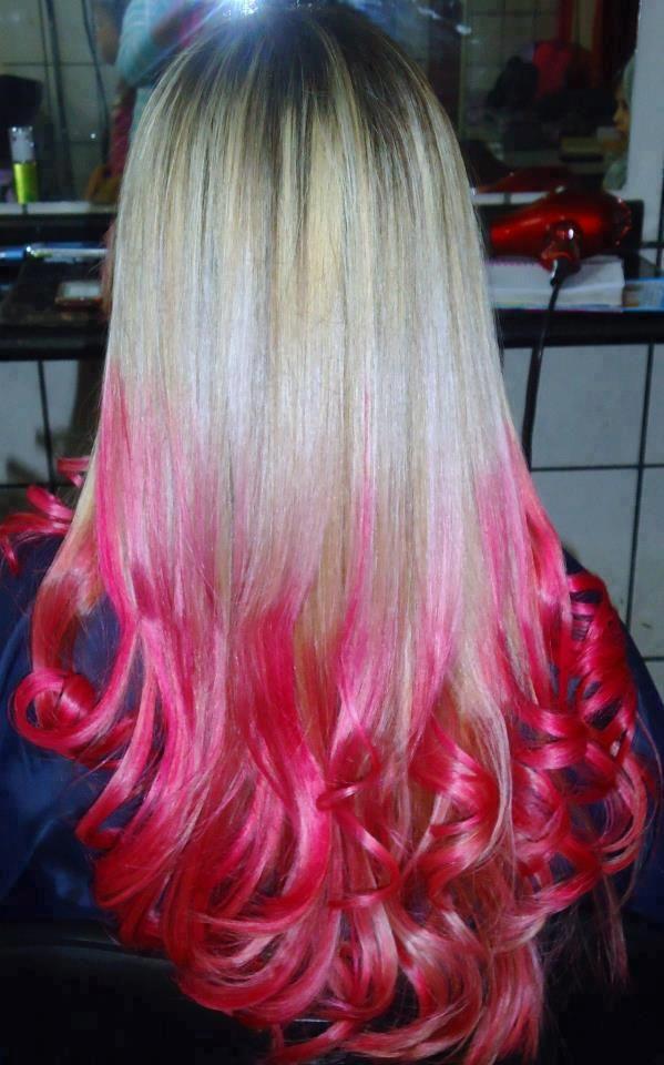 Blonde Hair Pink Tips Buscar Con Google