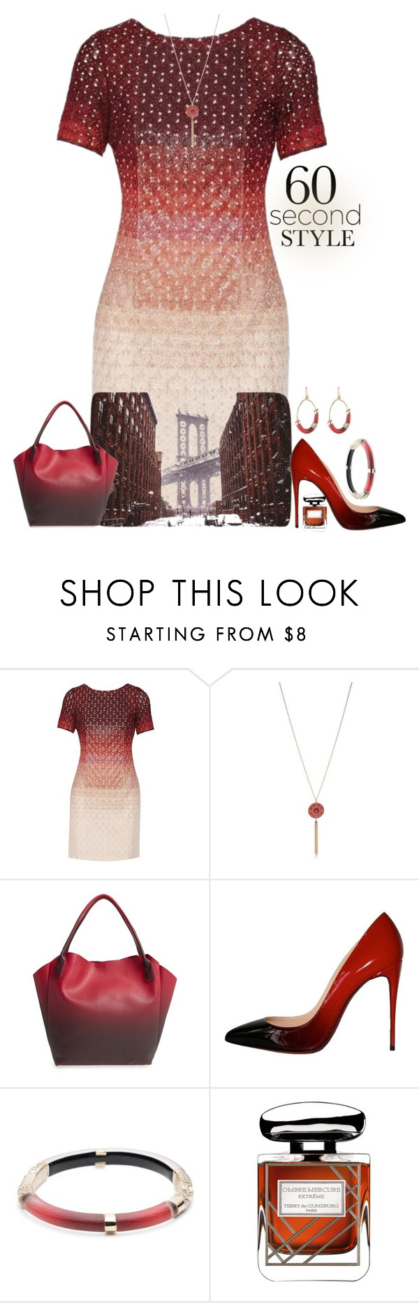 """60-Second Style: Ombre Effect"" by easy-dressing ❤ liked on Polyvore featuring Missoni, Kim Rogers, Pixie Mood, Christian Louboutin, Alexis Bittar, Terry de Gunzburg, ombre, polyvoreeditorial, polyvorecontest and 60secondstyle"
