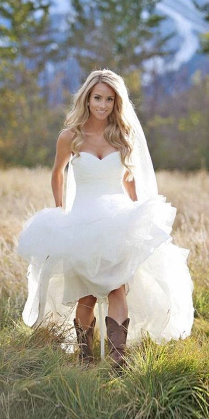 simple country style wedding dresses ideas with boots