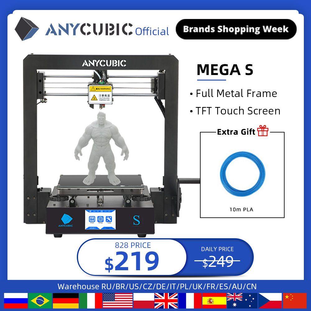 185 0us 26 Off Anycubic Mega S Mega S 3d Printer I3 Mega Upgrade Large Size Tpu High Precision Touch Screen Diy 3d Printer Kit Impressora 3d 3d Printers 3d Printer Kit