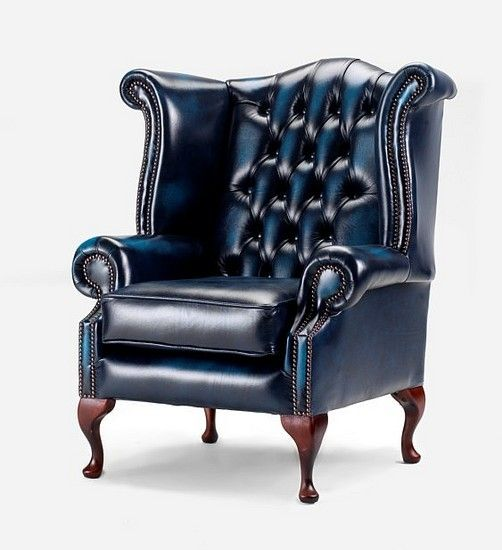 Best Antique Blue Chesterfield Queen Anne Wing Chair 640 x 480