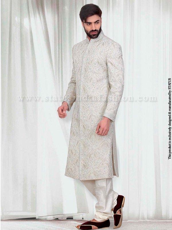 natural-colour-linen-Designer-Sherwani-SH86 | Men\'s Ethnic Wear ...