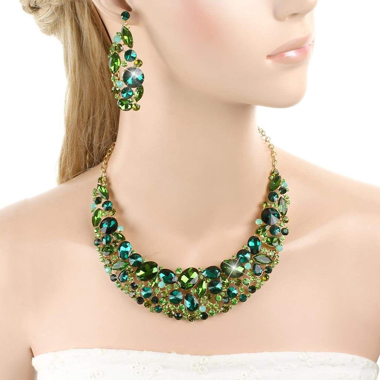 EVER FAITH Elegant Flower Oval Necklace Earrings Set