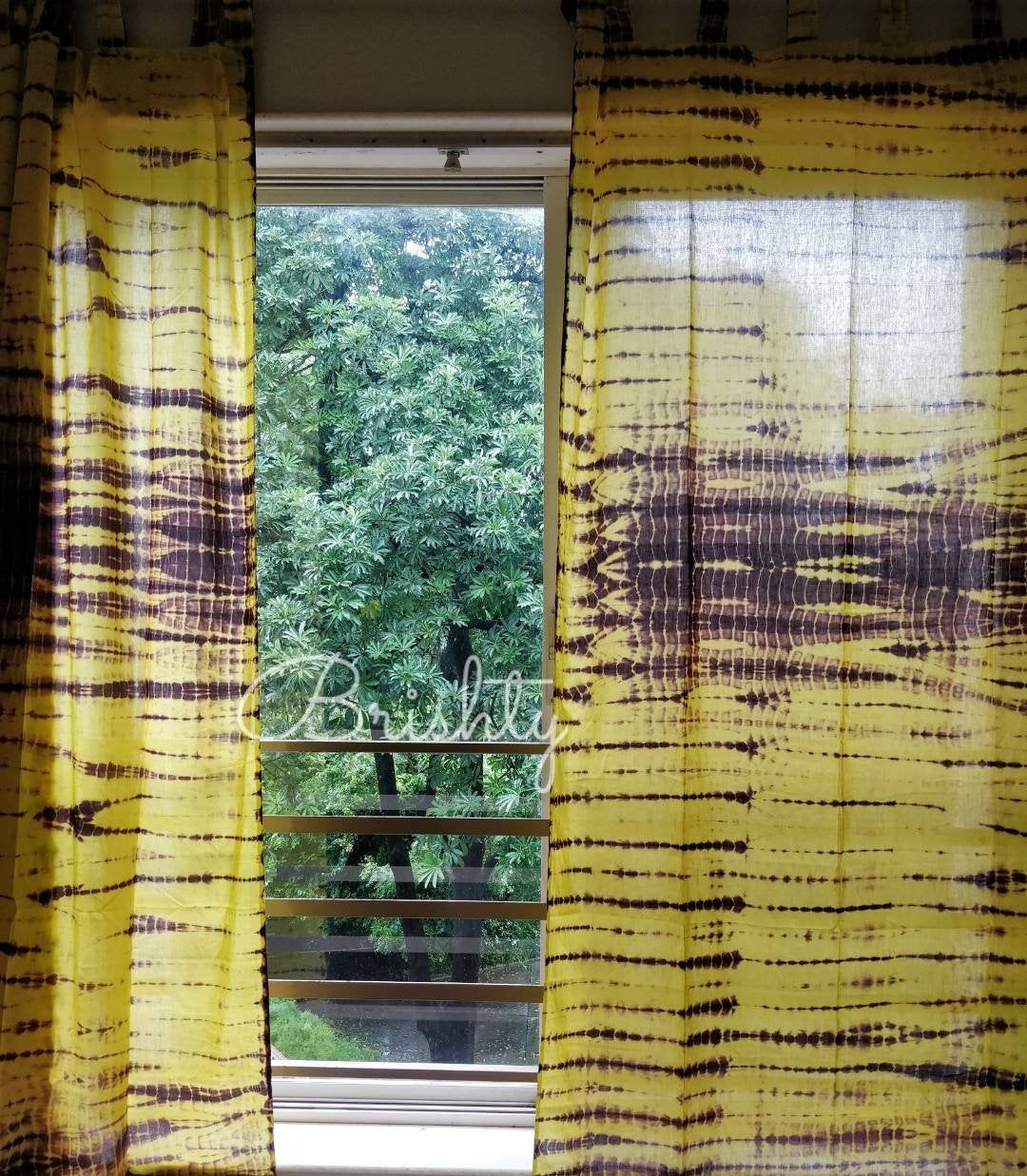 Set Of Two Yellow And Brown Boho Tie Dye Curtains Fall Autumn
