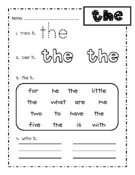 Worksheets Sight Words For First Grade Worksheets Free this is a pack of 25 kindergarten or first grade sight word skill sheets students
