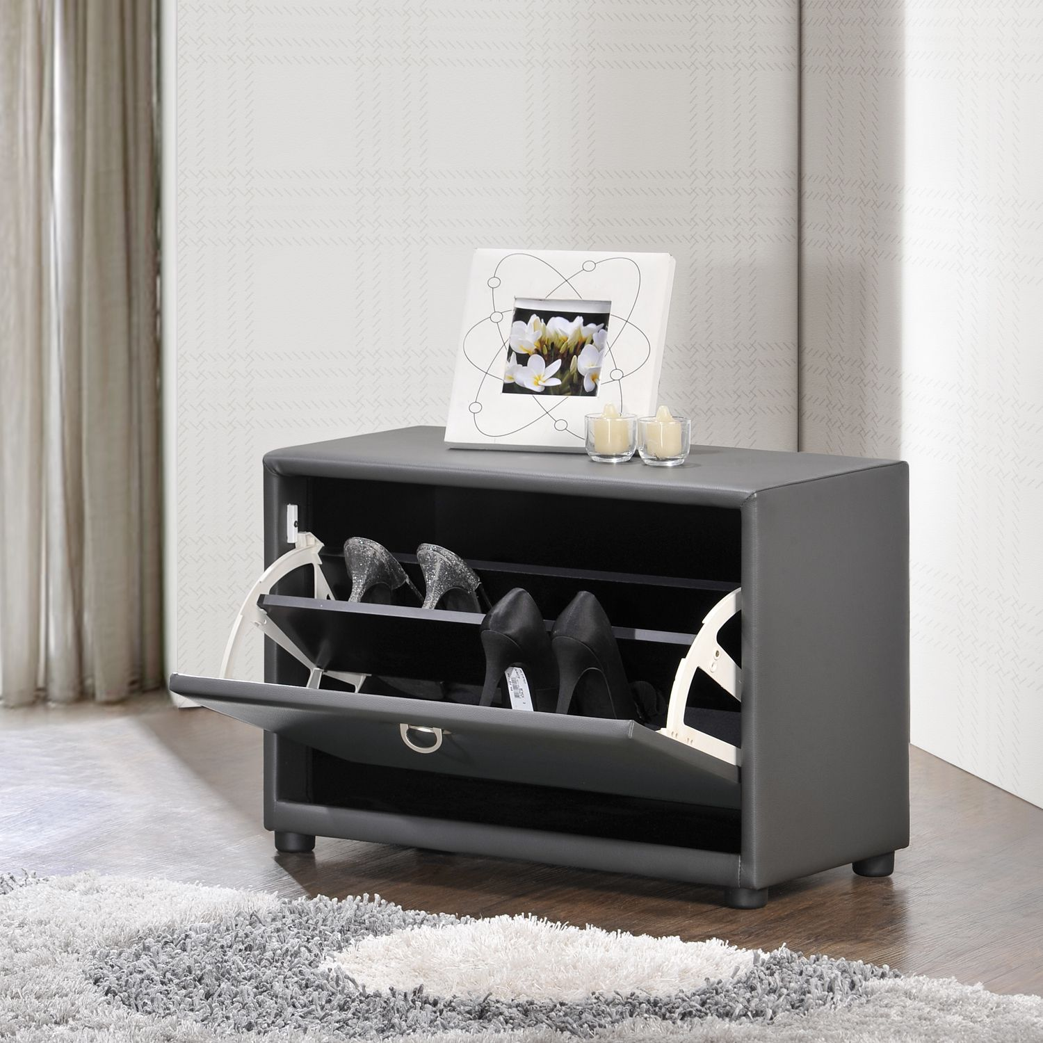 Baxton Studio Petito Contemporary 1-tier Grey Faux Leather Upholstered Shoe Cabinet