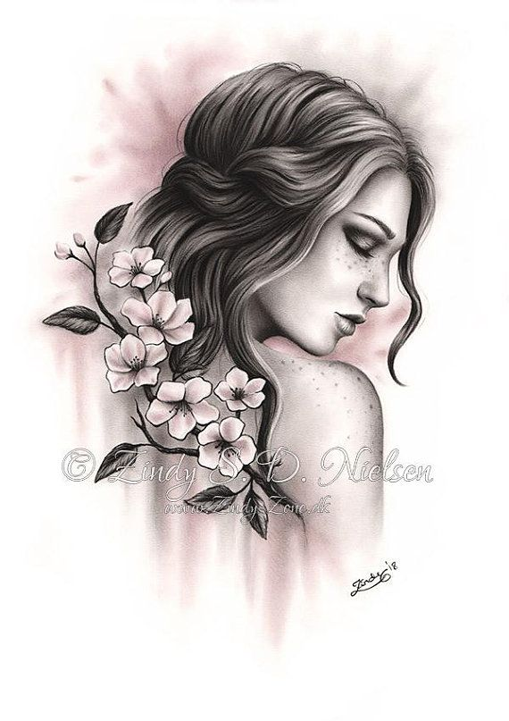 Spring Dreams Woman Tree Branch Spiritual Nature Cherry Blossom