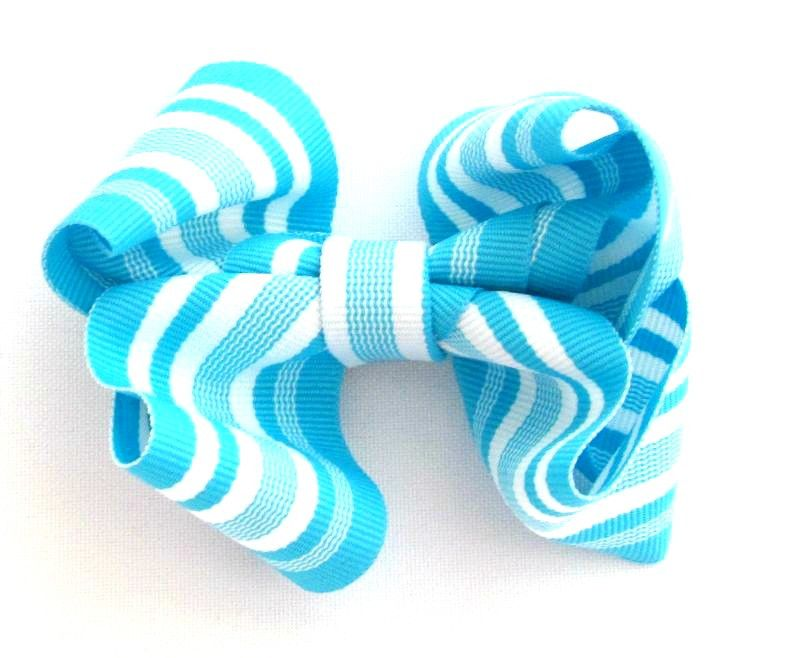 London Blue and White Stripes Hair Bow Clip