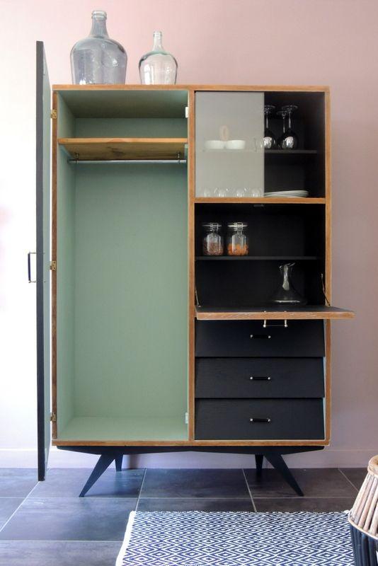 Secretaire Vintage Revisite Scandinave Mobilier De Salon Relooking De Mobilier Meuble Vintage
