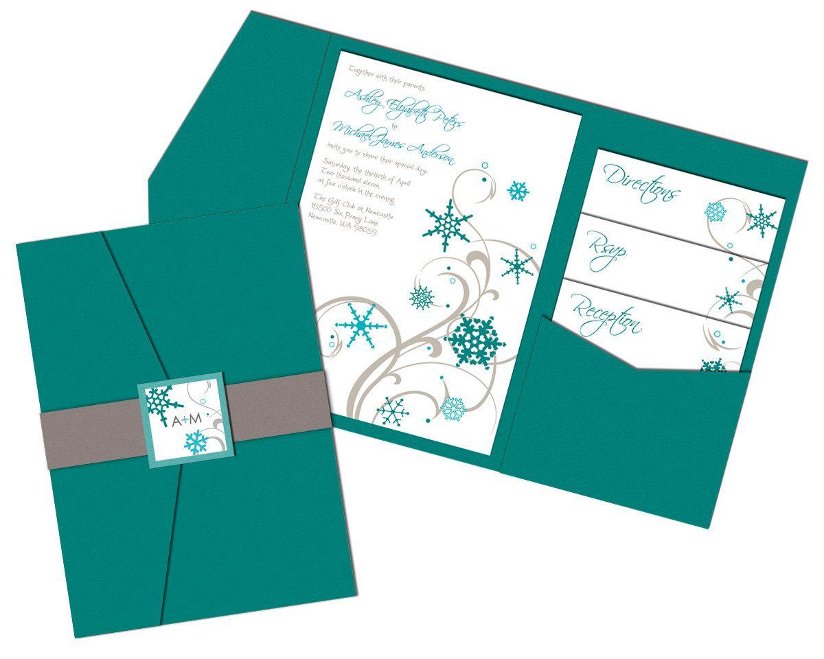 Cheap Wedding Pocket Invitations: Snowflakes Wedding Invitation Sample