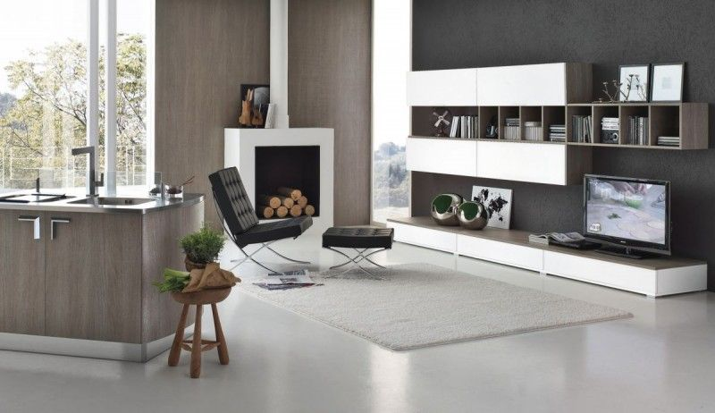 Pavimento e arredamento in un ambiente open space. Moderne Leefkeuken Cucina E Soggiorno Open Space Arredamento Soggiorno Open Space