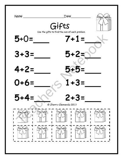 Addition Problems with Manipulatives (December) Common