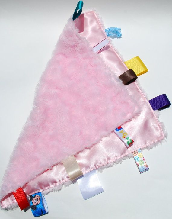 Baby Cuddle Blanket - Minky and Satin with Ribbon Tags - Pink OR CUSTOM on Etsy, $12.00