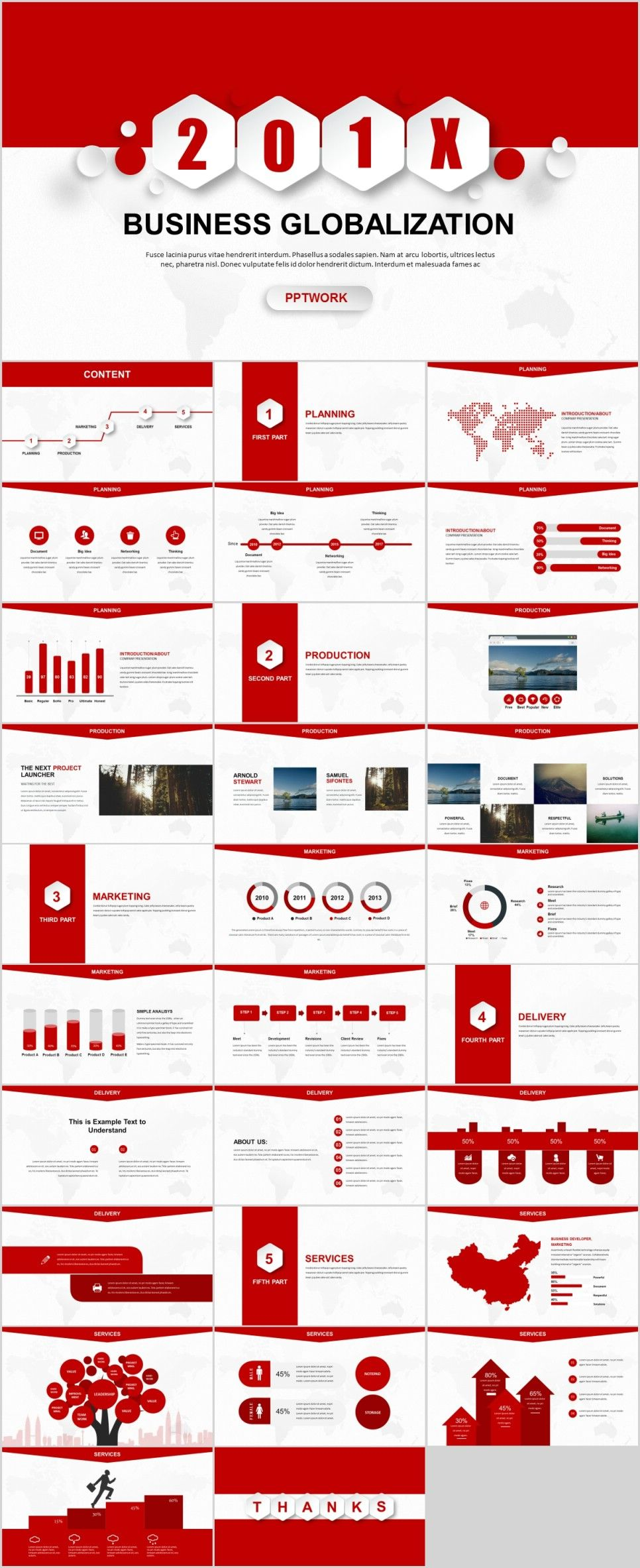30 red creative business report powerpoint template presentation