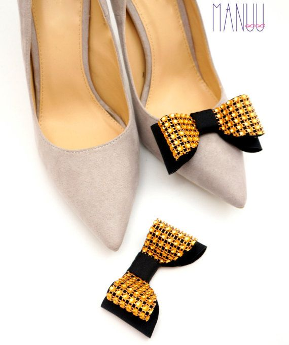 Black gold bows shoe clips Manuu Shoe accessories by ManuuDesigns