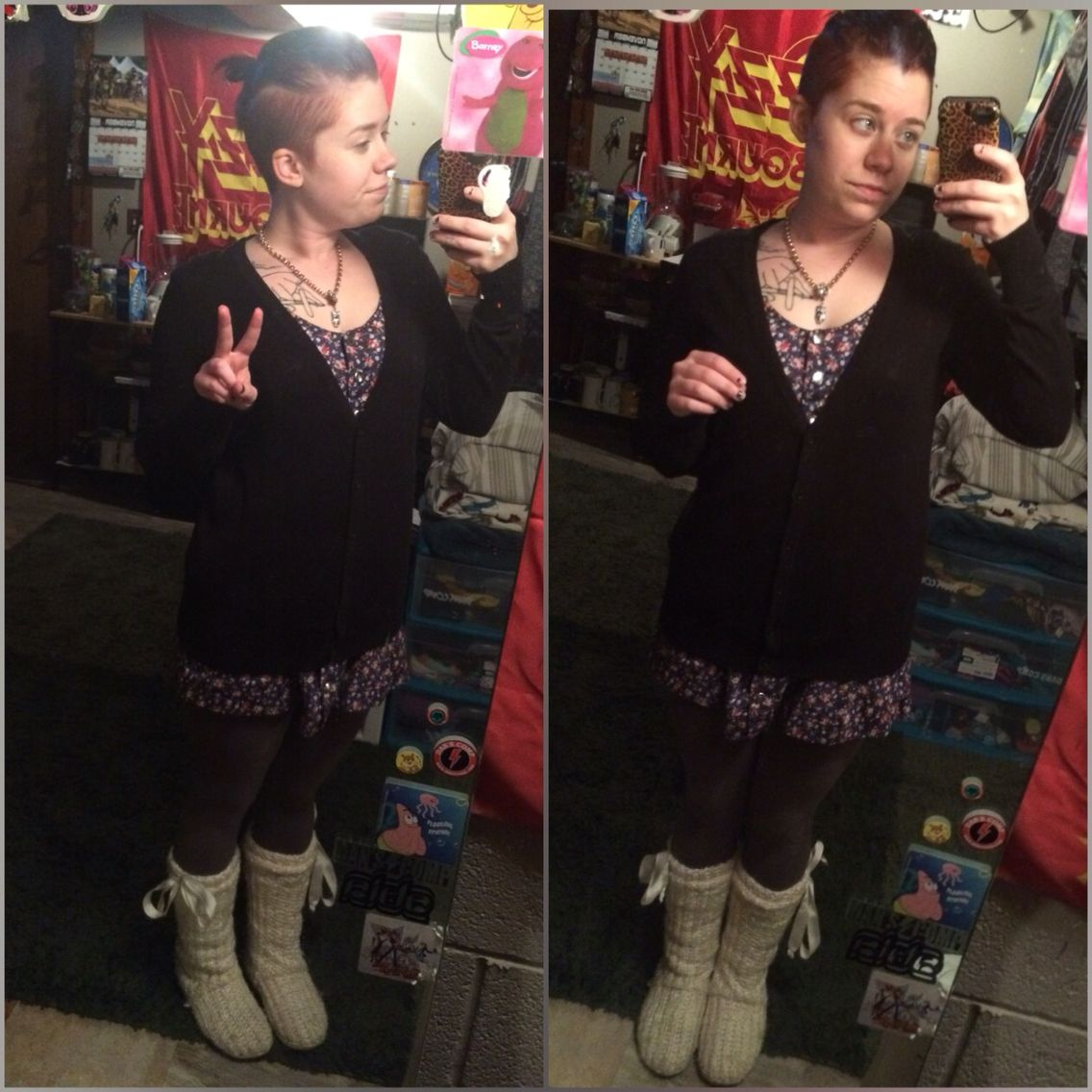 12-11-15 ok so we got the whole dress legging thing going on with high socks, skipper boots and a black cardigan. First trial outfit...SUCCESSFUL!!! Must do something different with the hair though!!