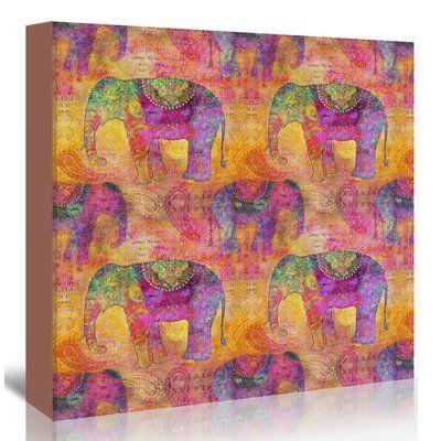 "East Urban Home 'Elephants' Graphic Art Print on Canvas Size: 24"" H x 24"" W x 1.5"" D"