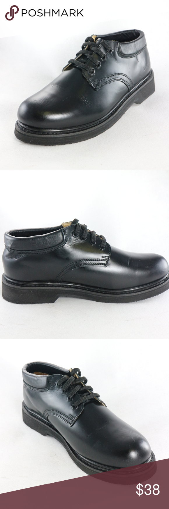 Black Leather Soft Toe Work Oxford
