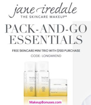 Jane Iredale 3-piece Free Bonus Gift with $100 Purchase & Promo Code LONGWKEND at Jane Iredale - details at MakeupBonuses.com #JaneIredale #free #beauty #GWP