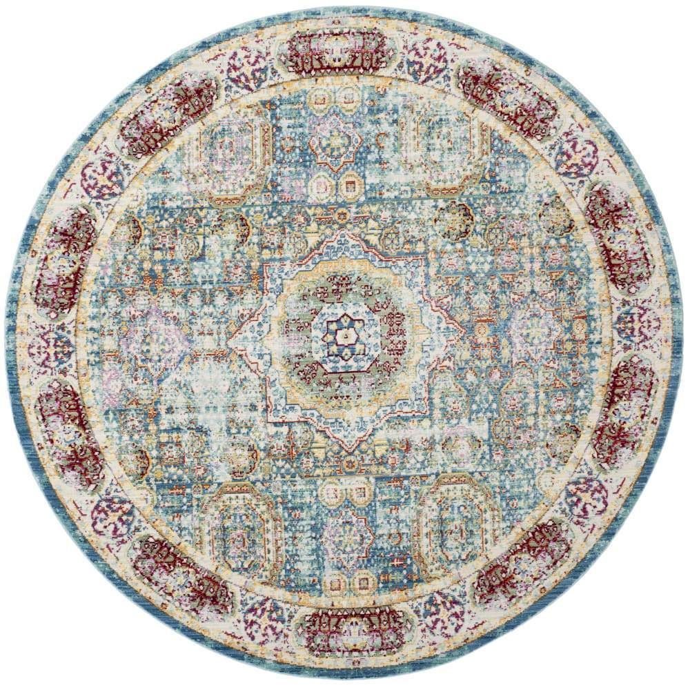 Photo of Blue Polyester Rug – 6'7 x 6'7 Round