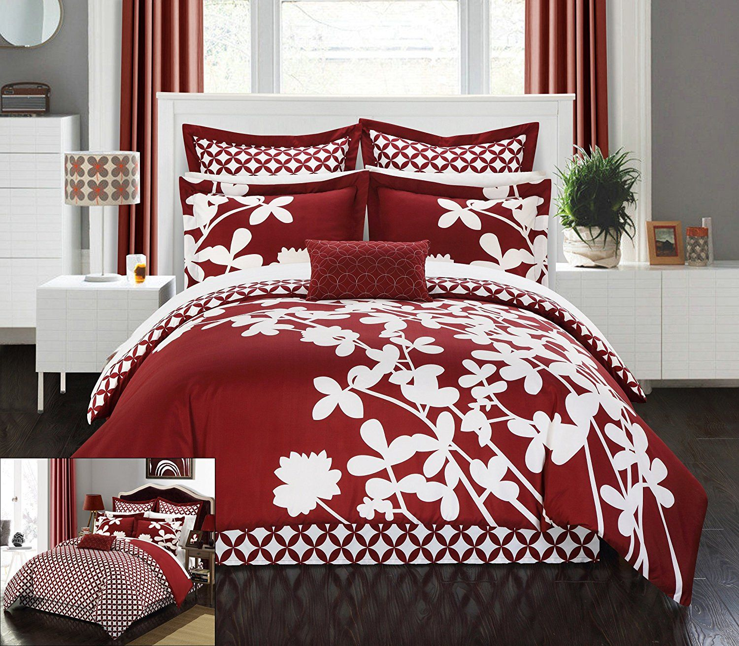 Burgundy Bedding Sets   Chic Home 7 Piece Iris Reversible Large Scale  Floral Design Printed With Diamond Pattern Reverse Comforter Set, King, ...