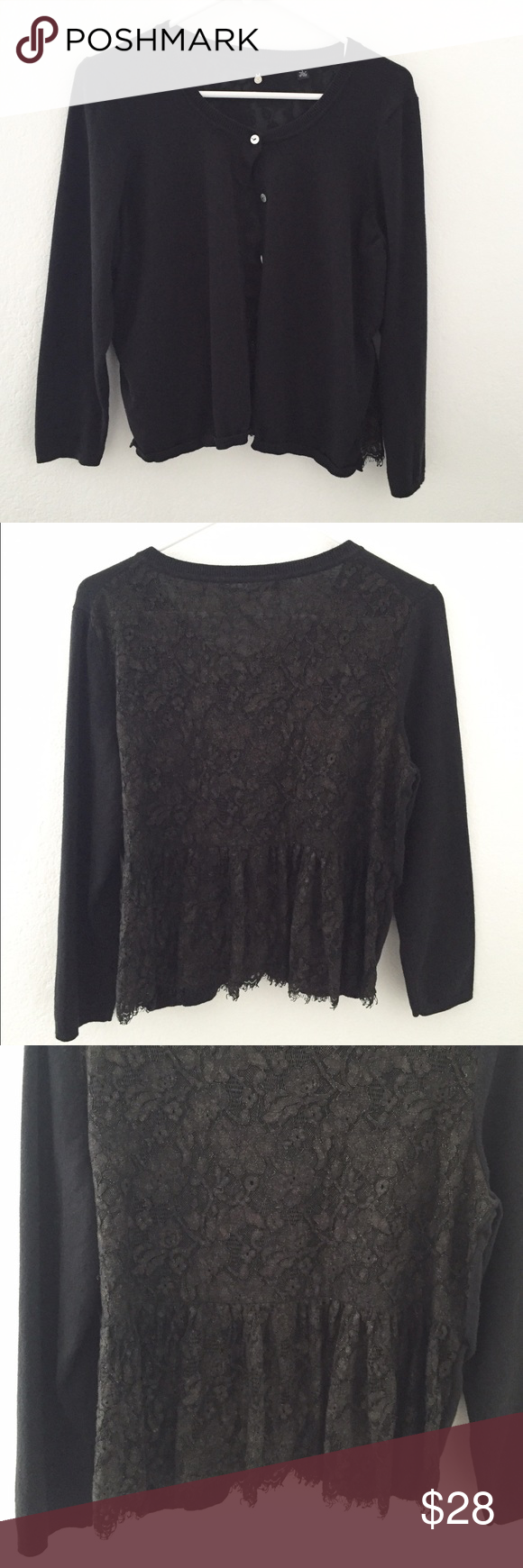 ANTHROPOLOGIE black cardigan, back lace detail Adorable black ...