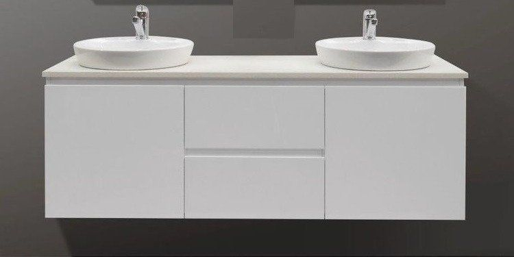 1500 Wall Hung Double Vanity Counter Basins Marble Fleck