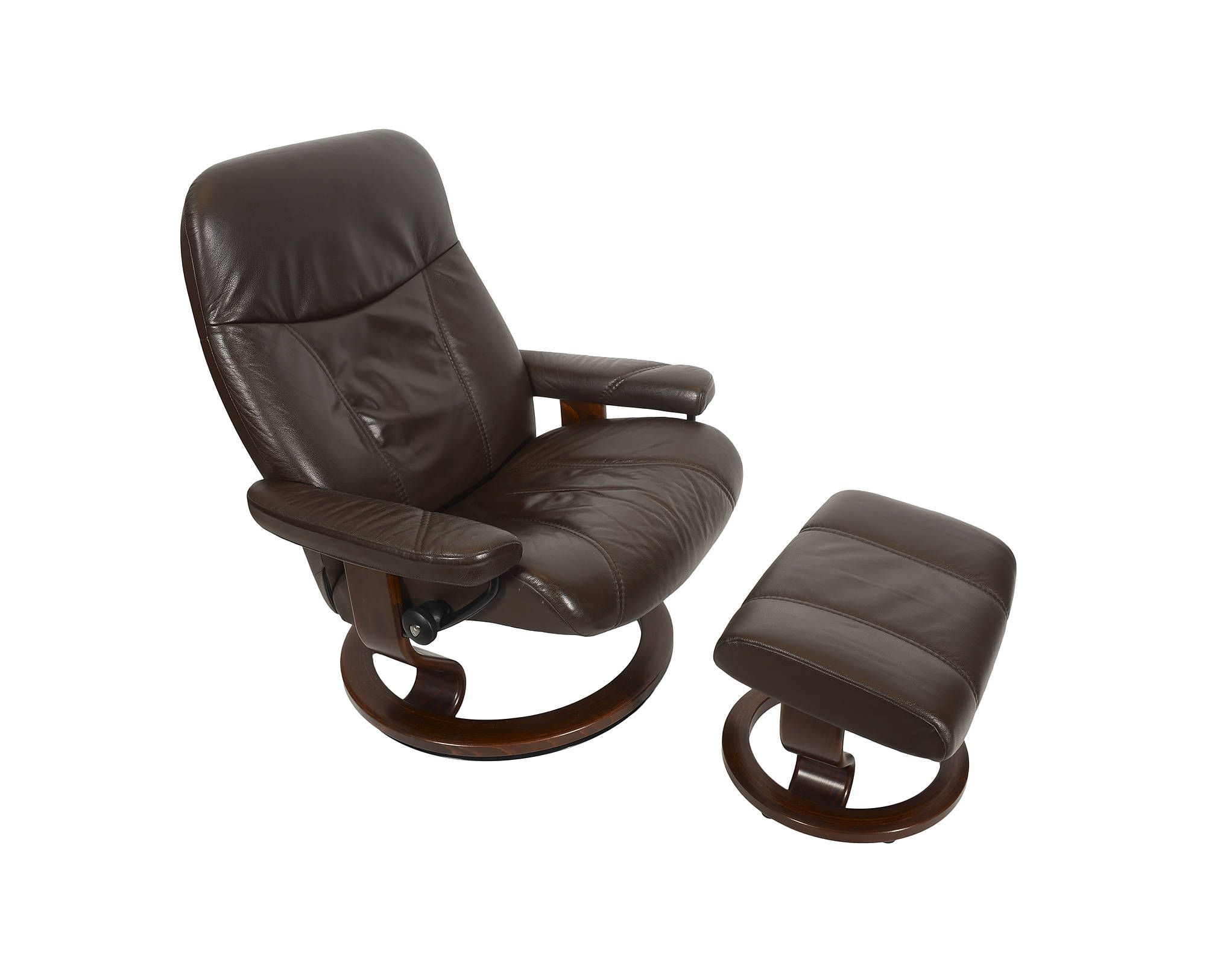 Leather Ekornes Stressless Reclining Chair Ottoman Norway Mid