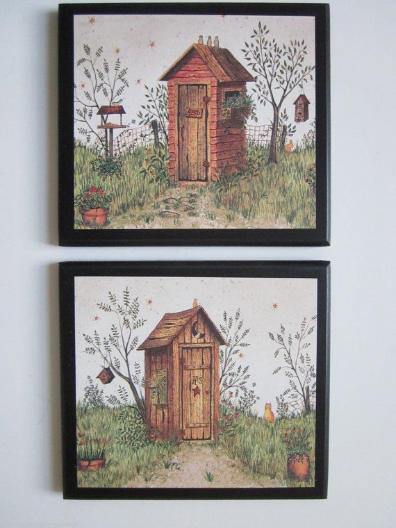 Outhouses For Country Bath His Hers Rustic Lodge Wall Decor Primitive Or Log Cabin Outhouse Pla
