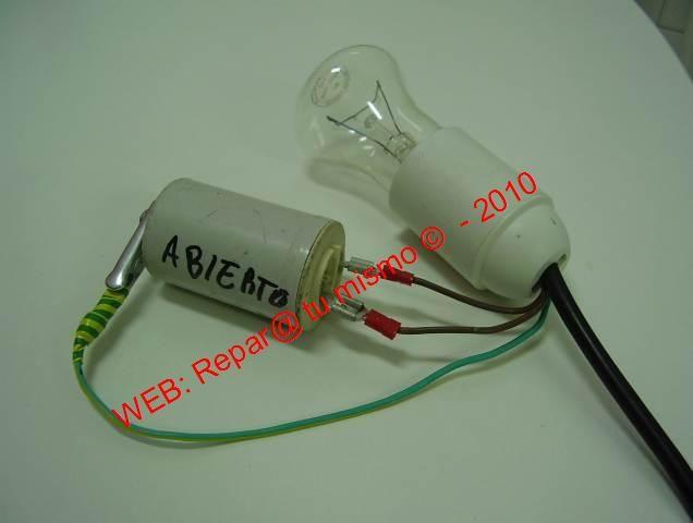 Cable Comprobador Con Bombilla Para Condensadores Electrodomesticos Lavarropas Y Lavavajillas