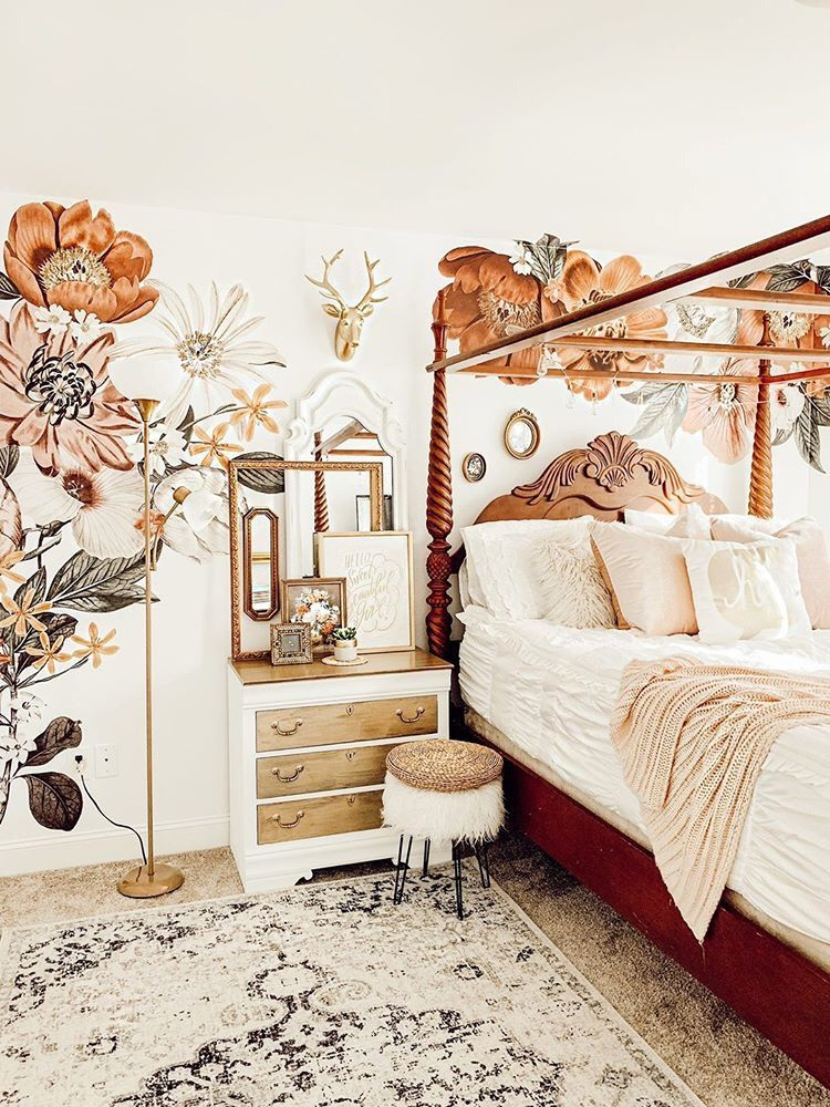 Eden Floral Decals In 2021 Bedroom Vintage Home Decor Bedroom Whimsical Bedroom