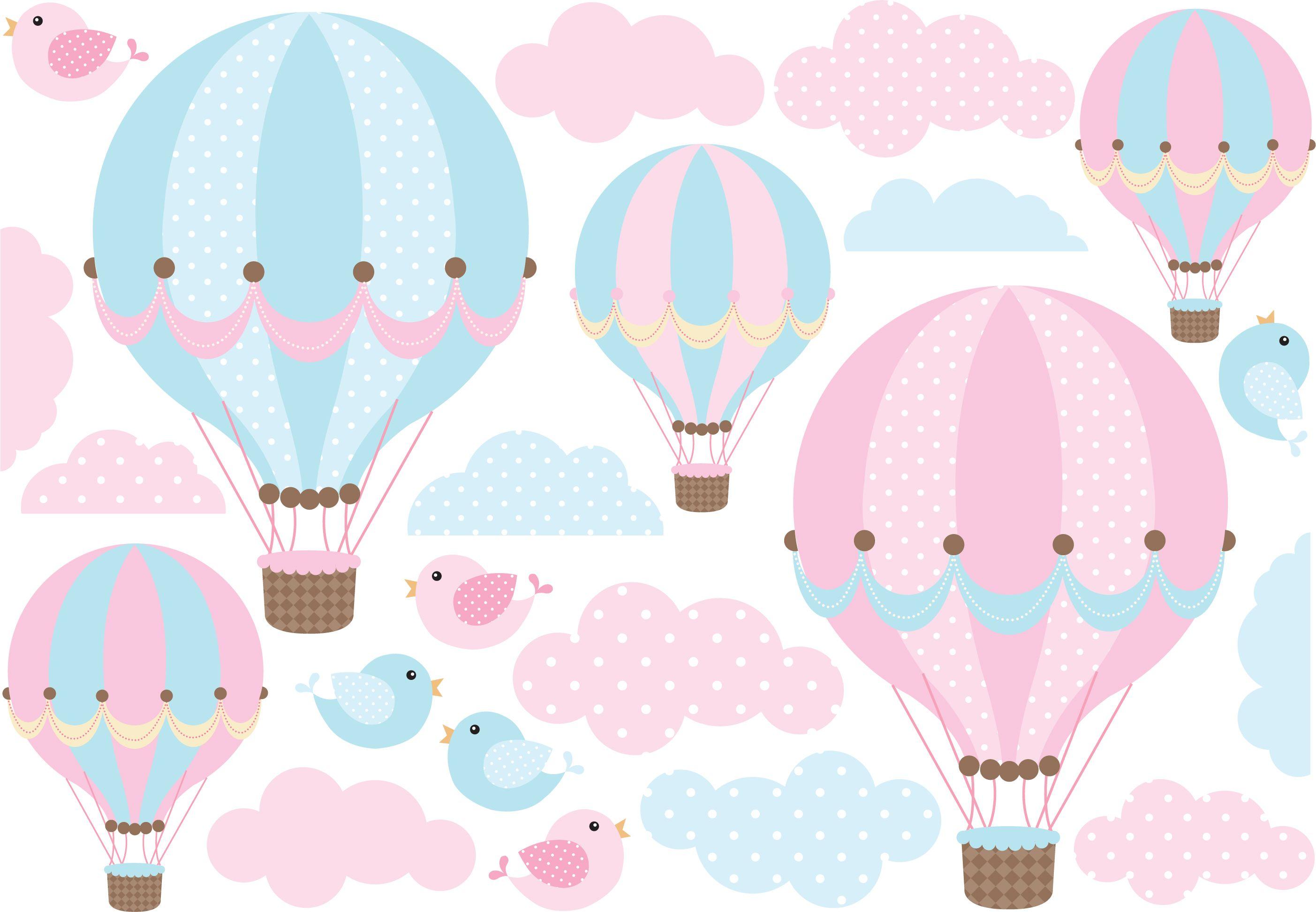 Kit de vinilo globos y pajaritos con nubes empapelado - Globos aerostaticos infantiles ...