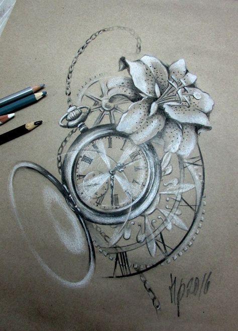 lilly clock tattoo | Tattoo uhr, Uhr tattoo vorlagen und ...