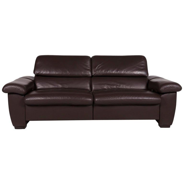 Hukla Leather Sofa Brown Two Seat Incl Function Sofa Leather Sofa Leather