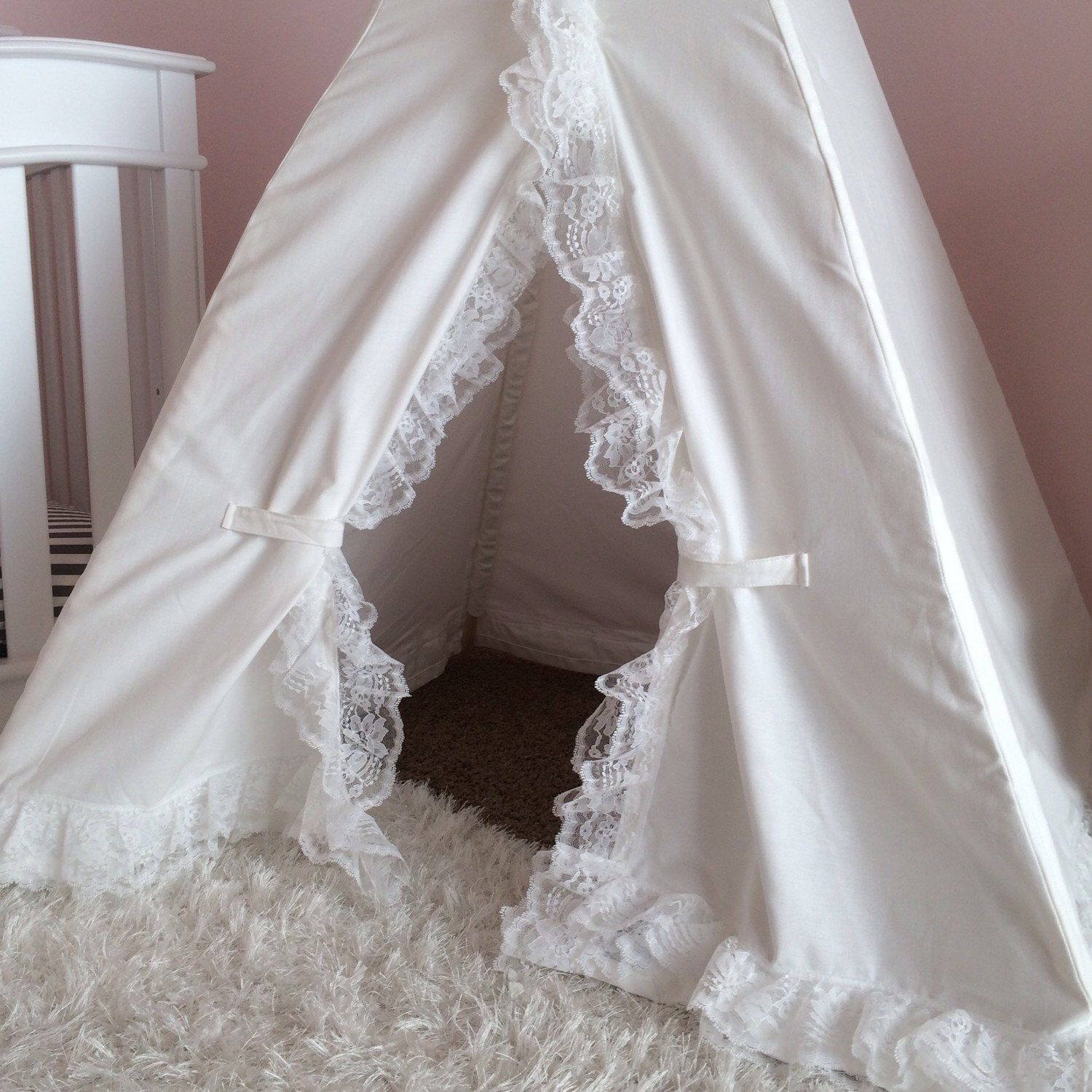 Lace Teepee White Canvas with White Lace -- kids teepee tent for nursery playroom & Lace Teepee White Canvas with White Lace -- kids teepee tent for ...