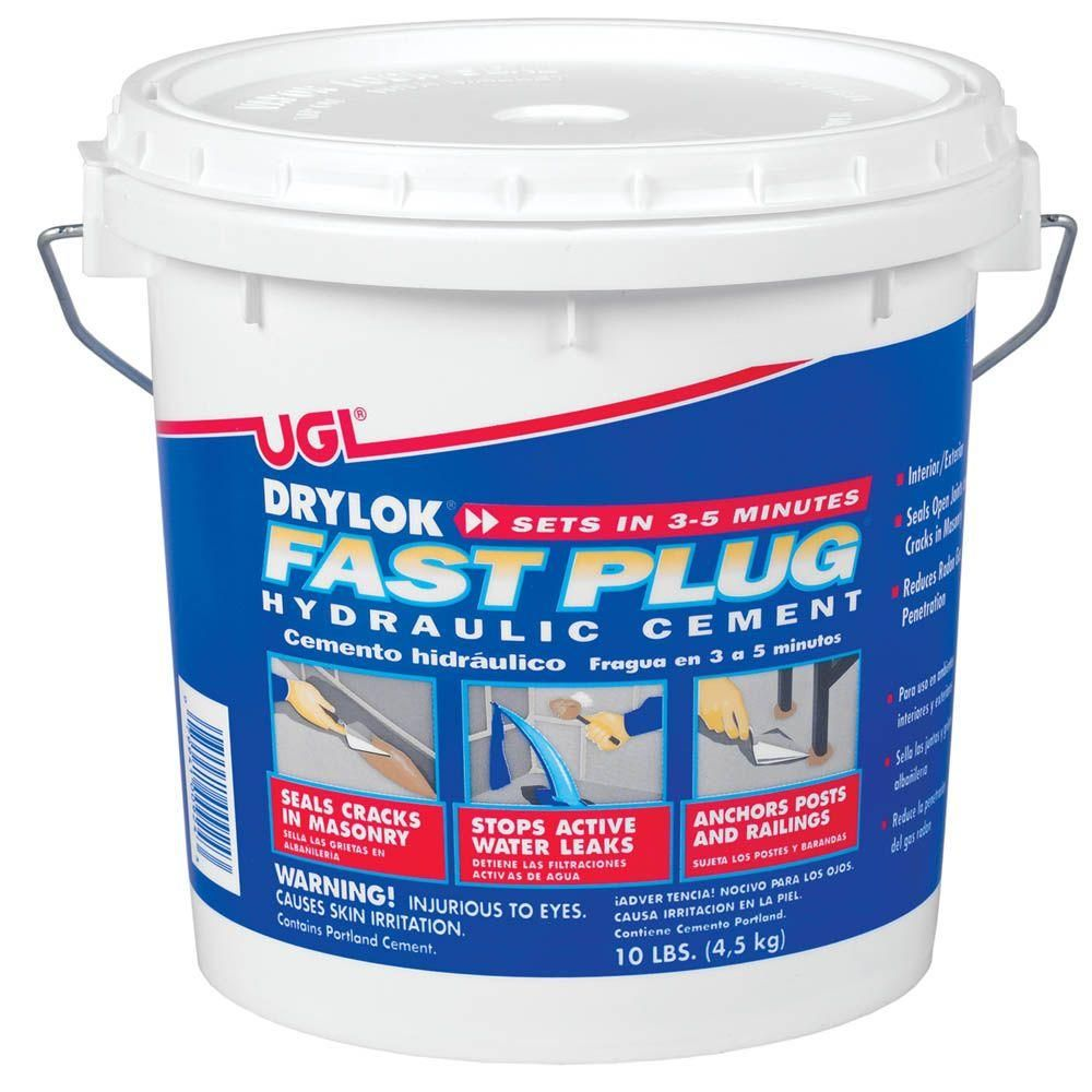 Drylok Fast Plug 10 Lb Hydraulic Cement Gray In 2020 Waterproofers Cement Basement Waterproofing Diy
