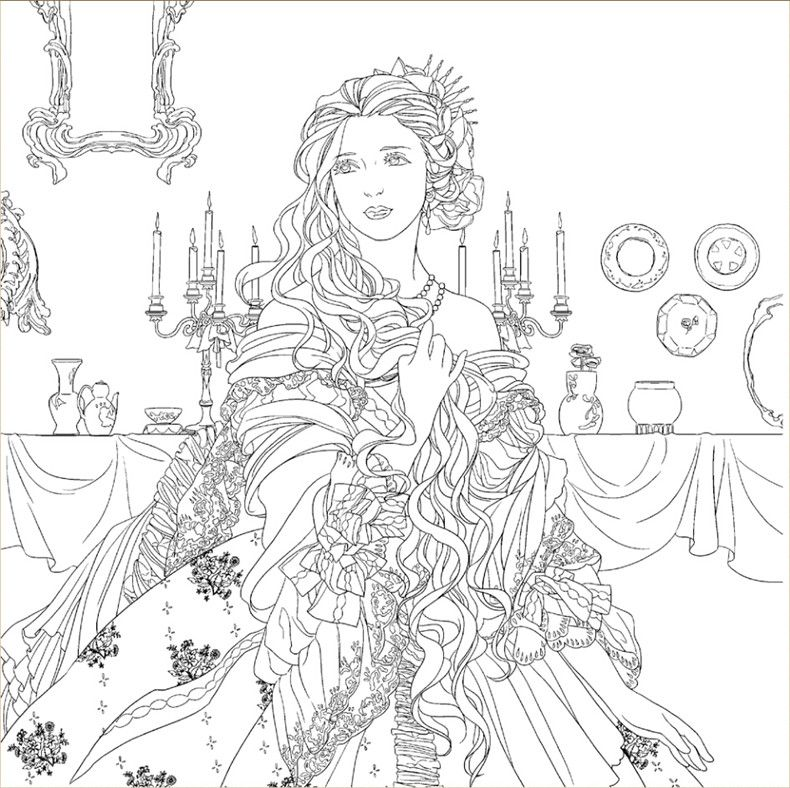 Beauty and the beast colouring book secret garden style Amazon coloring books for adults secret garden