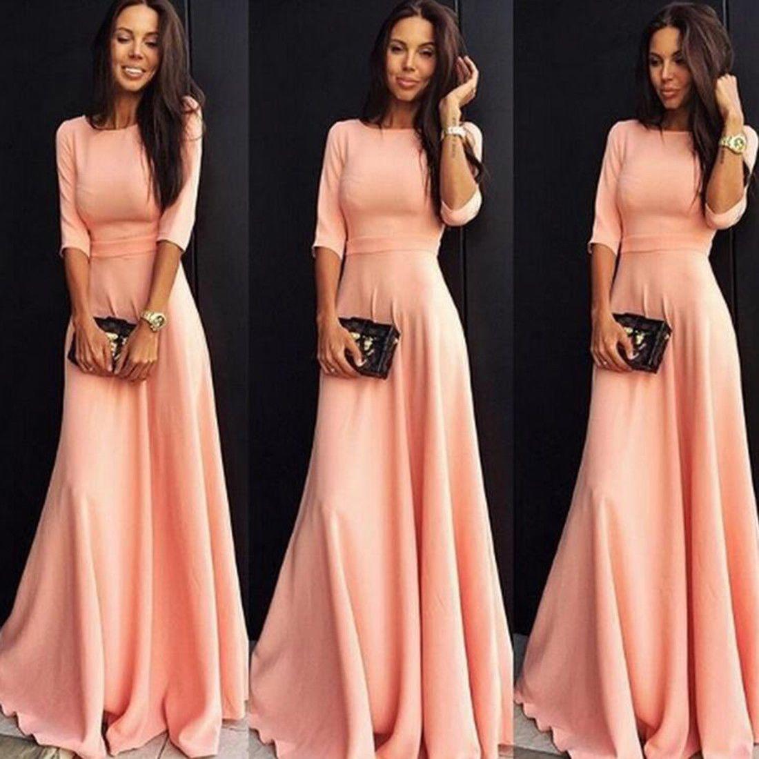 Women pink long ball gown dress prom evening banquet cocktail