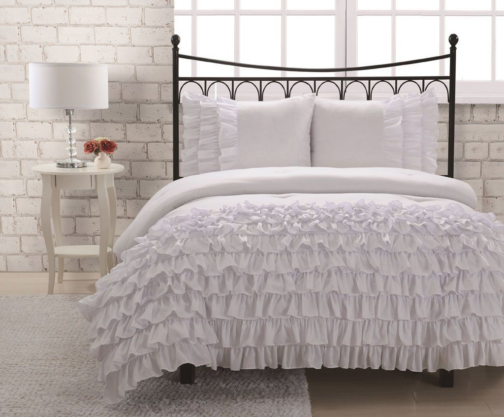 Amazon.com: Twin Miley Mini Ruffle Comforter Set White: Home U0026 Kitchen