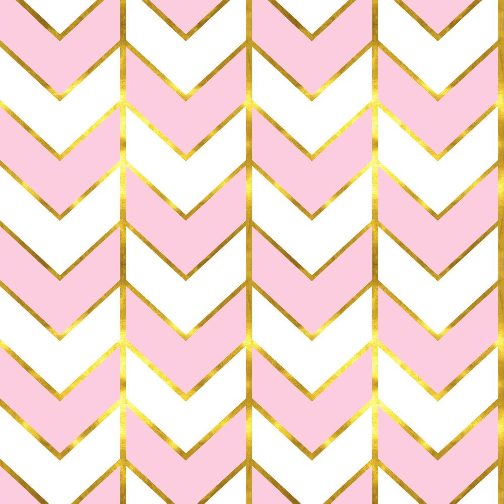 Pink and Gold Chevron Fabric - Gilded Herringbone In Lilac By ...