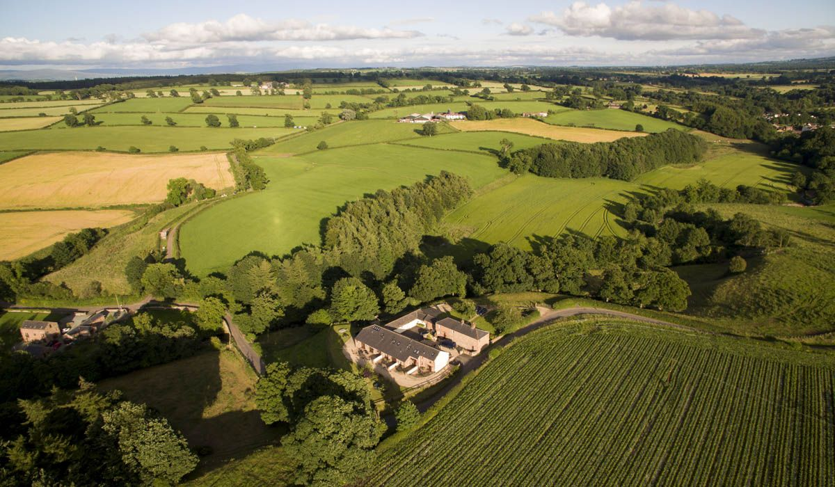 Luxury Lake District cottages at Hall Hills from the air.