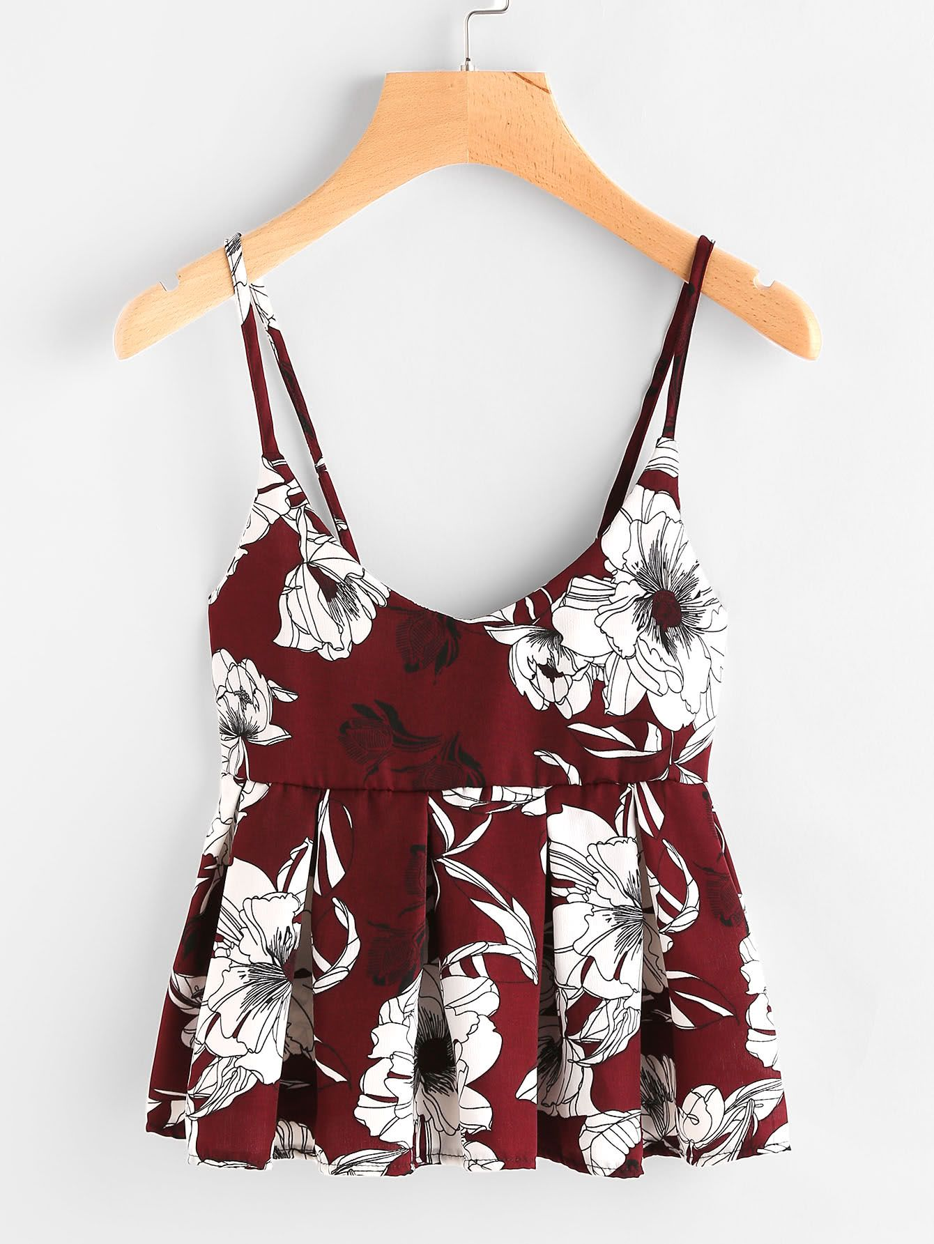 ca7e7f55ba Floral Print Random Babydoll Cami Top -SheIn(Sheinside)   Shirts ...