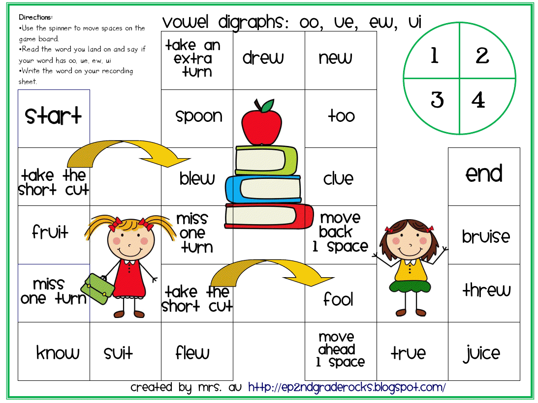 Worksheets Words With Oo Sound Like Book vowel digraphs board game roll the dice or spin spinner read that make oo sound as in school by karrie ward