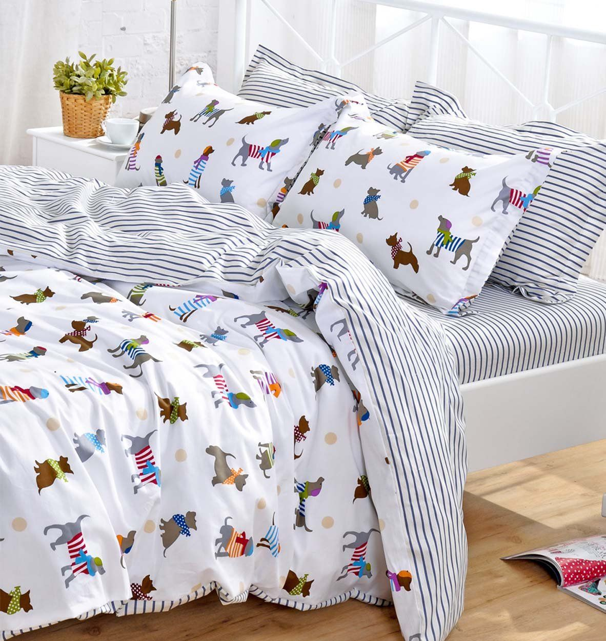 YOYOMALL Cotton Cartoon Dog Bedding Set,Cute Puppy Duvet Cover Set For Kids, Children