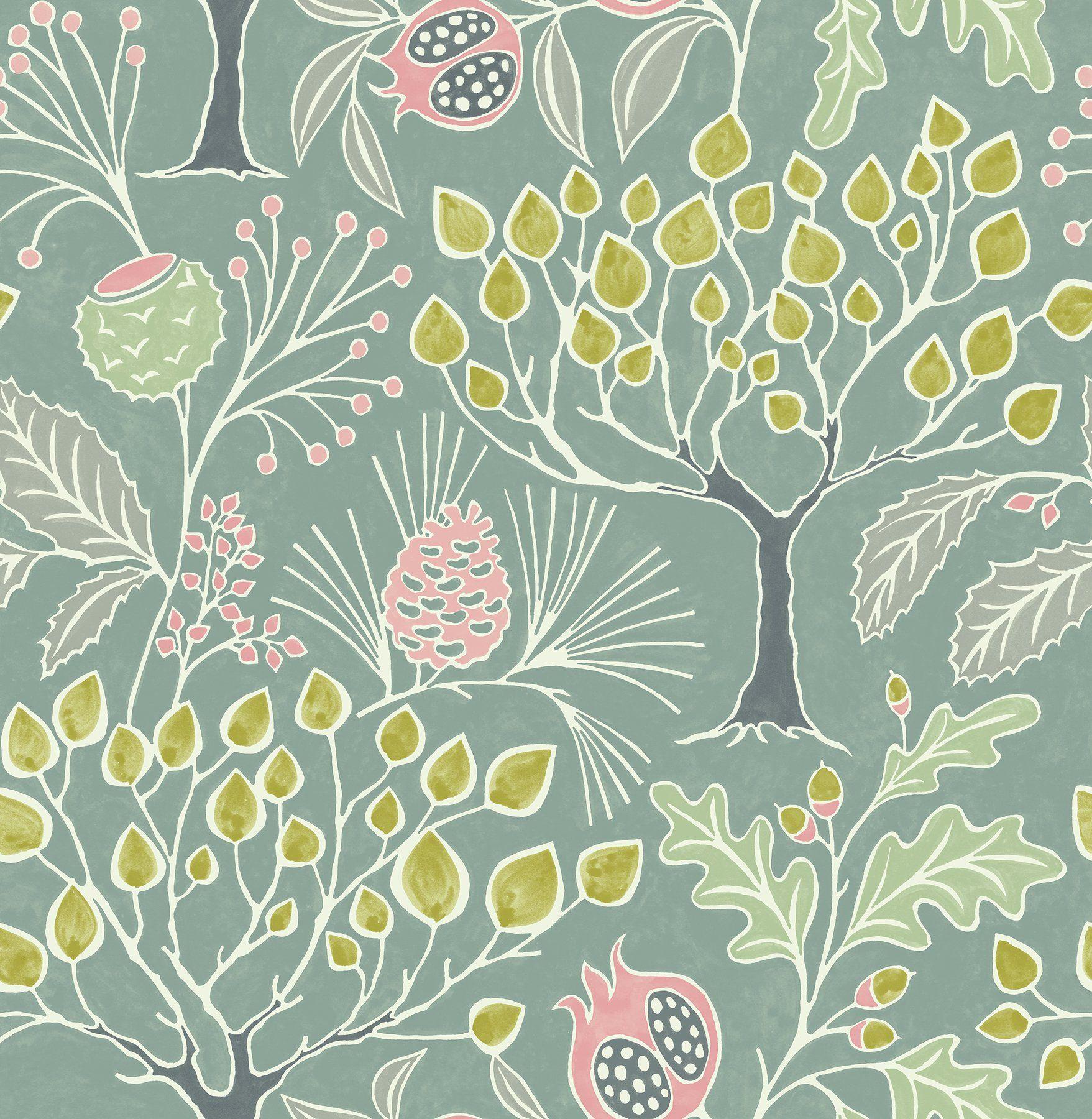 Shiloh Botanical Green Woodland Wallpaper Green Floral Wallpaper Botanical Wallpaper