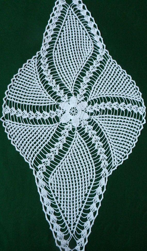 Vintage white Crocheted Table Runner Crochet Tray Cloth crochet ...