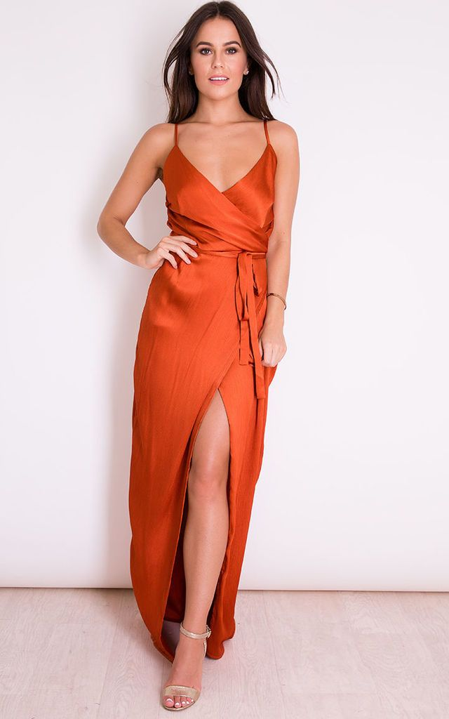 6145f02012 Ellie V Neck Wrap Maxi Dress Rust by Girl In Mind