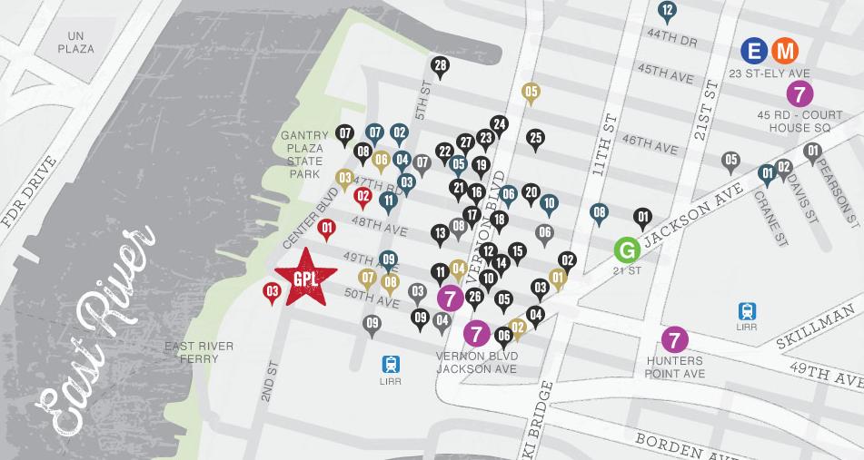 근처 레스토랑 및 지하철 입니다. GPL 이라고 써있는곳이 집입니다. 집에서 지하철 7트레인  까지 3분이면 됩니다. G트레인까지는 7분정도, E,M 트레인은 15분정도 소요 됩니다.그리고 같은 애비뉴에 경찰서가 있어서 치안문제 전혀 걱정안하셔도 됩니다.