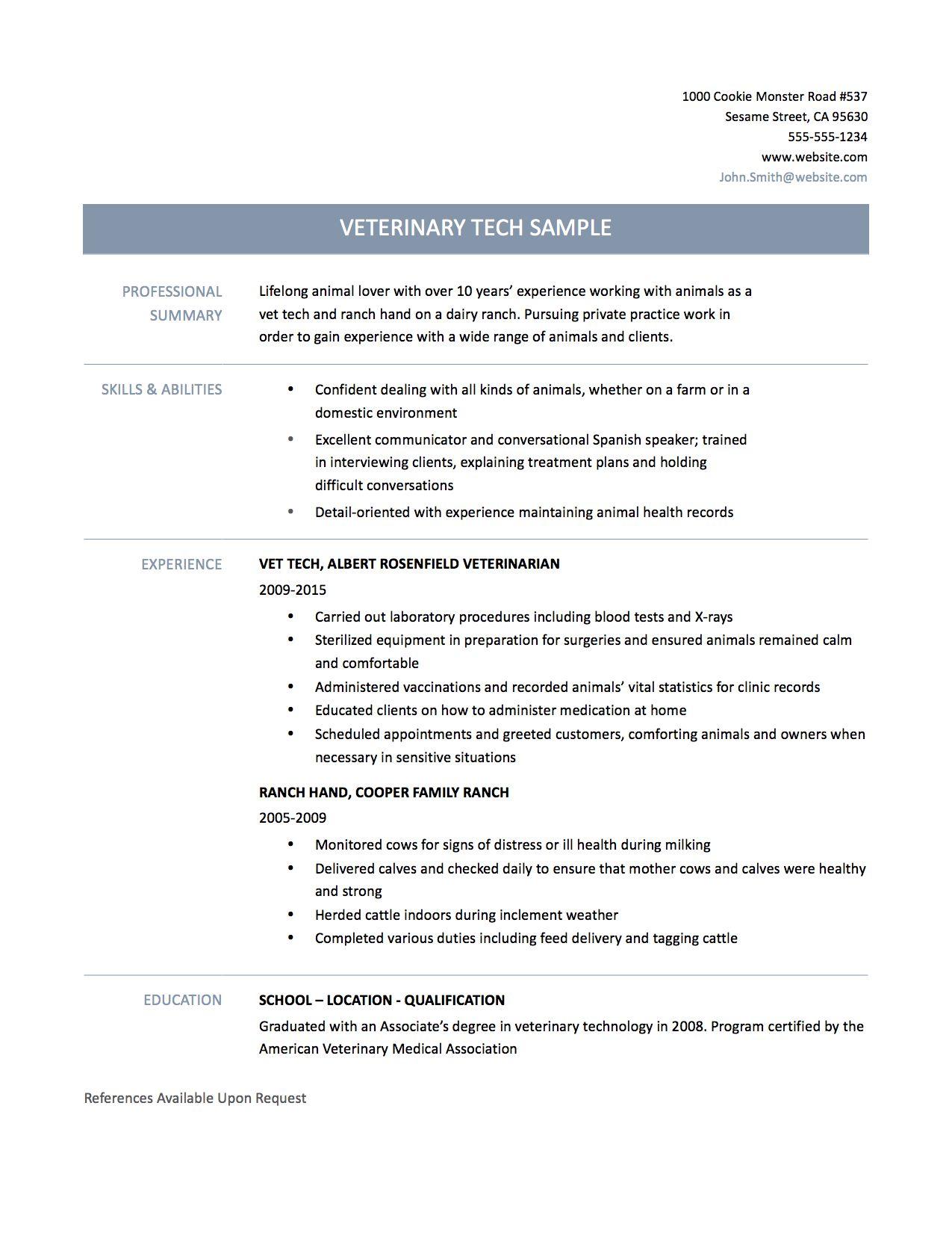 Vet Tech Resume Template Cover Letter Sample Veterinary
